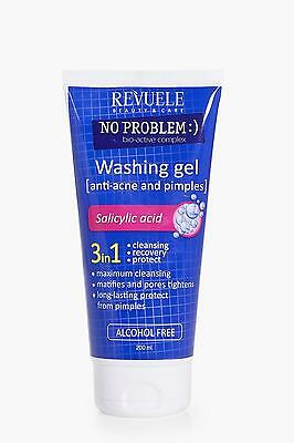 Boohoo Womens 3 in 1 Washing Gel Anti Acne & Pimples in Blue size One Size