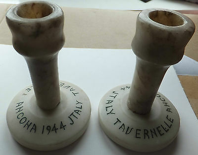 pair of Marble Tavernelle Ancona 1944 Candlesticks