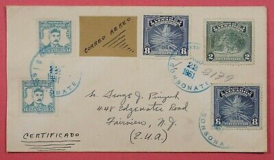 1951 El Salvador Multi Franked Airmail Cover Registered To Usa