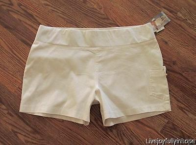 DUO MATERNITY ~ New! Size XL ~ White PANELLESS Low Rise Stretch Cotton Shorts