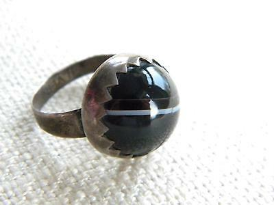 antique Victorian Silver stamped AGATE ring ~ old agate ~ rare find ~