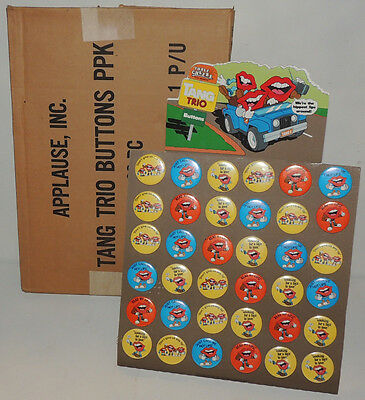 Vintage 1980s TANG TRIO Breakfast Drink STORE COUNTER DISPLAY Powder Button Pin