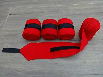 4 Pack Elasticated Exercise Bandages In Red -  Easy Grip Wrap Around Fastening