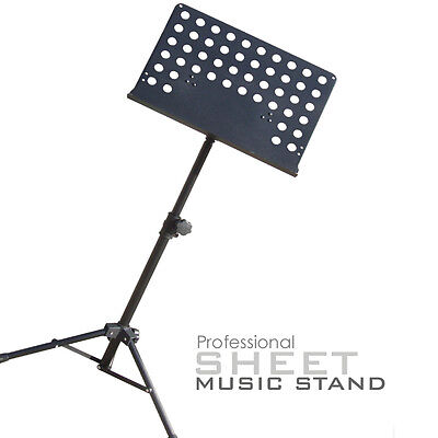 Pro Black Heavy Duty Foldable Orchestral Sheet Music Stand Holder Adjustable