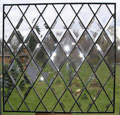 Large Stained Glass Window Full Diamond Beveled Clear Leaded Stain