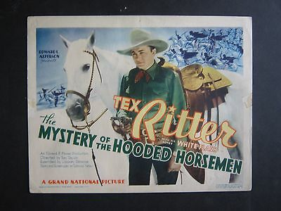 The Mystery Of The Hooded Horsemen '37 Tex Ritter With His Horse White Flash Tc