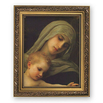 Madonna And Child Bouguereau In Ornate Gold Frame w Glass Virgin Mary