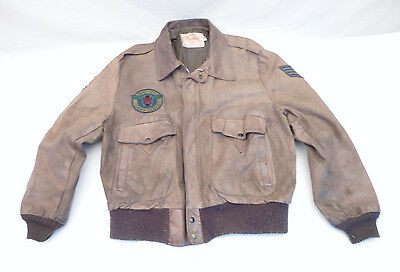Military 614th Lucky Devils 101st Excelled USA Leather Flight Jacket 46 Reg