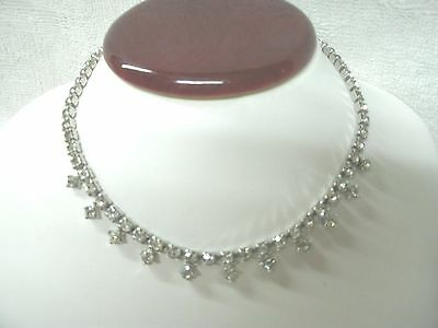 Vintage  Clear Rhinestone Necklace--Pretty Clasp----Choker 15""
