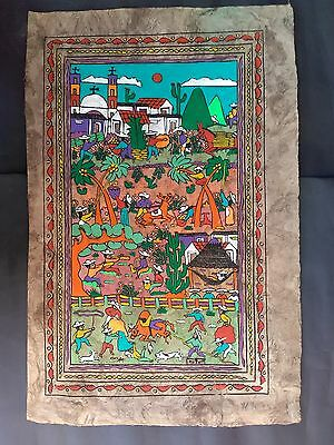Mexican Amate Bark Paper  Painting Ethnic Native Scene Art Craft Home Wall Decor