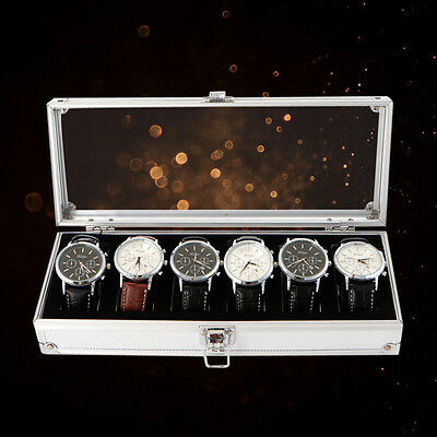 6 Grid Slots Jewelry Watches Display Storage Box Case Aluminium Watch Box NEW