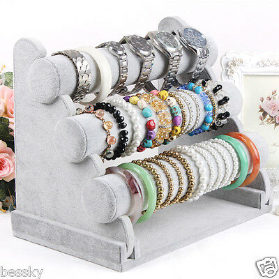 3-Tier Bar Bracelet Watch Table Jewelry Organizer Holder Rack Stand Display NEW