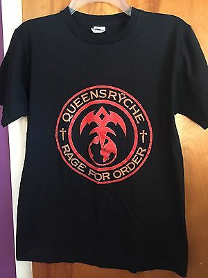 """Queensryche """"Rage for Order:Tour 1986-87""""_Vintage 80's USED Medium T-Shirt"""