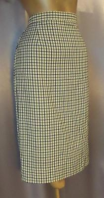 FITTED CHECK PRINT Vintage 1950s 1960s SECRETARY PENCIL SKIRT - SM / MED