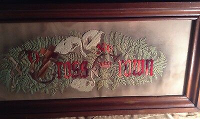 """ANTIQUE VICTORIAN PUNCH PAPER SAMPLER Thick FRAME """"NO CROSS NO CROWN"""" RARE"""