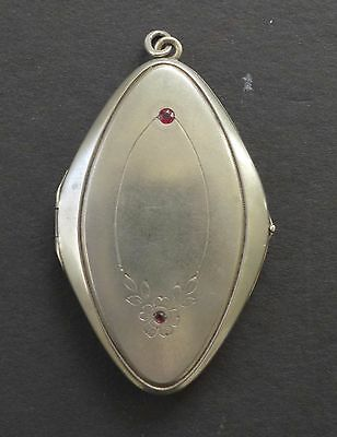 Antique 800 Silver Rhinestone Photo Locket Pendant Diamond Shaped