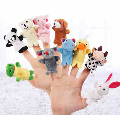 1x2x5x Lot Animal Finger Puppets Plush Cloth Doll Development Baby Hand Toy Kid