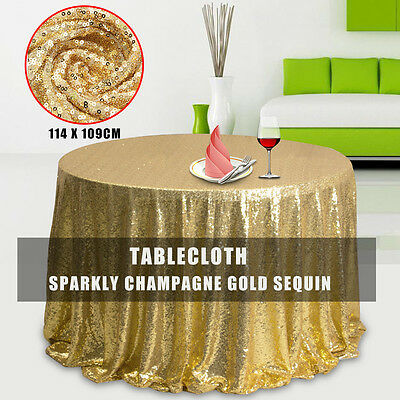 Sparkly Champagne Gold Sequin Cloth Fabric Tablecloth For Event Table Background