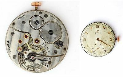 CYMA 586K vintage  original watch movement. Swiss made  (working)   (4752)