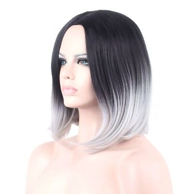 Lady Women Ombre black gray Straight short bob Synthetic Full Cosplay Party Wig
