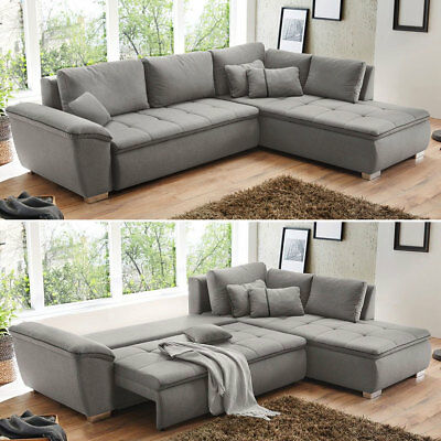 sofa wohnlandschaft mit bettfunktion und bettkasten u form grau ecksofa eur 666 00 picclick de. Black Bedroom Furniture Sets. Home Design Ideas
