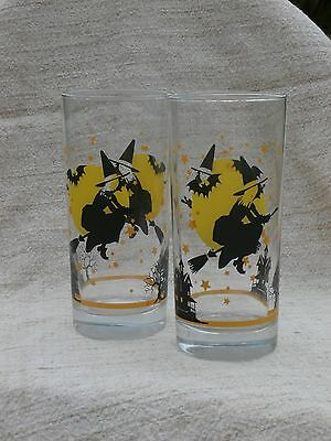 Pair of Halloween Glass Tumblers, Witch and Full Moon, Glassware, Lot of 2