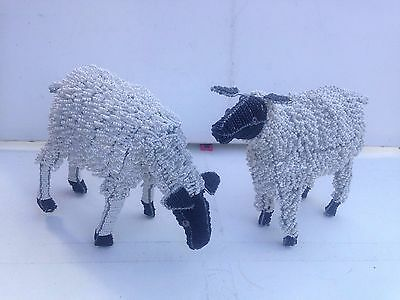 """Two British Hand Crafted Decorative Beaded Wire Sheep 10"""" Tall 13"""" Wide"""
