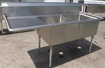 """Restaurant Equipment NEW 75"""" L 2 COMPARTMENT STAINLESS STEEL SINK W/ DRAINBOARD"""