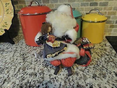 Nans Dolls  Santa Claus Corn Husk Cornhusk w/ Little Girl on his Knee + Toy Sack