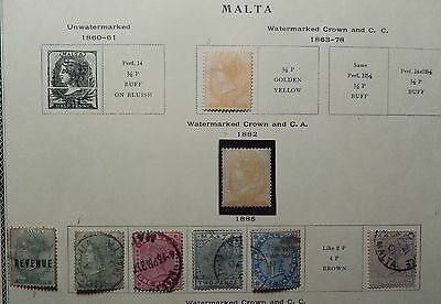 Malta Collection 1863-1963 on 19 Album Pages, Most Used, cv $340