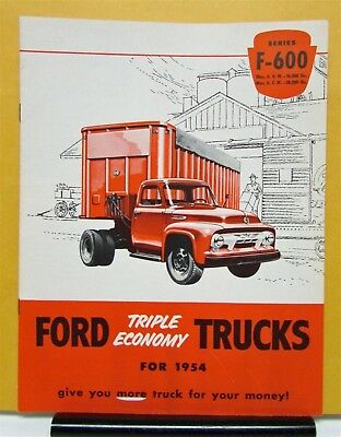 1954 Ford Truck Model F 600 Sales Brochure and Specifications