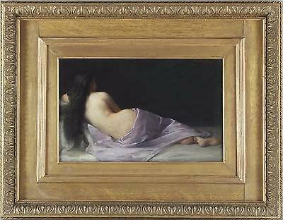 Emmanuel Benner Antique Fine French Oil Painting of a Reclining Nude Lady Signed