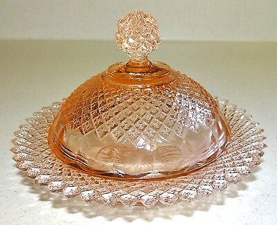Pink Depression Glass MISS AMERICA Round Covered Butter Dish Vtg Anchor Hocking