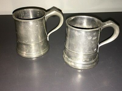 """Antique Pewter Tankards ~ 1/2 Pint ~ """"wr"""" + Numerous Markings - Look!"""
