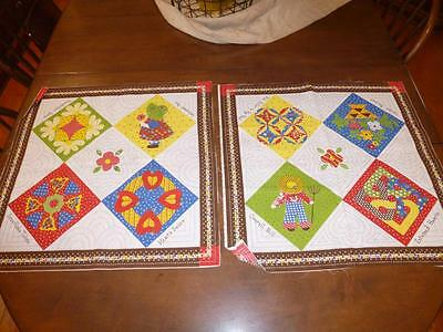 2 Vtg DOLL QUILTS FABRIC PANELS Sunbonnet Sue Overall Bill Mini SUZANNE MCNEILL