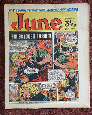 June Comic. 28 October 1972. Vg+ Condition. Girls Comic.