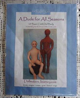 """Dollmakers Journey A Dude For All Seasons 18"""" Basic Cloth Doll Body Pattern 2006"""