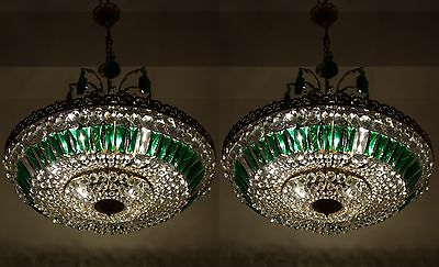 Pair of Antique Brass & Crystals Beautiful LARGE Chandelier from 1950's RARE !