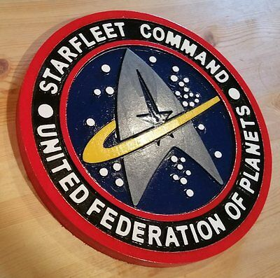 Starfleet Command 3D routed carved wood bar prop sci fi wood sign Wooden