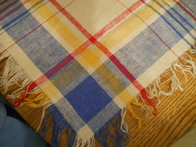 Unused Vtg Red Yellow Blue Plaid Linen Tablecloth Fringes 52X50
