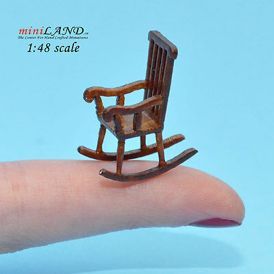 """1:48 1/4"""" quarter scale rocking chair Top quality walnut for dollhouse miniature"""