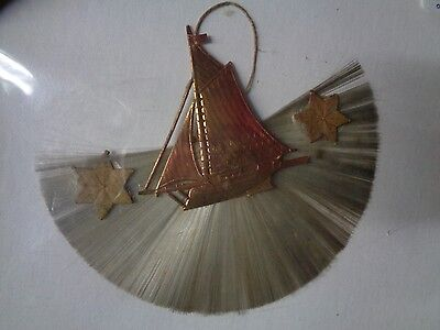 Vintage Germany Spun Glass With Dresden Sailboat Christmas Ornament