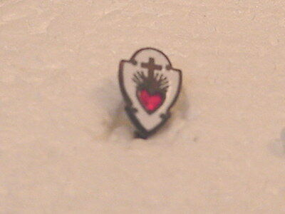 Religious Pin Tac Shield  with Cross & Heart--Vintage Original