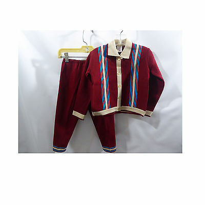 Vintage Sweater Pants Suit Jacket Burgundy Blue Boys Rockabilly Mod  60s 50s