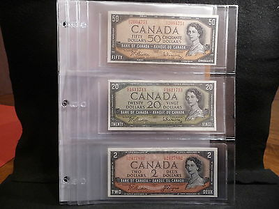 UNITRADE  3 POCKET PAGE FOR  BANK NOTE HOLDERS   ( package of 5 ) (#8)