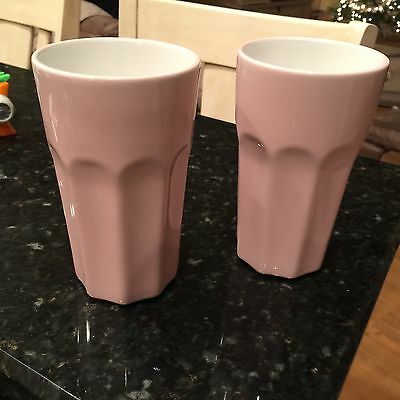 PAIR IKEA Pokal Pink Ceramic Tumbler RARE  **MINT**  Glass Smoothie Milkshake