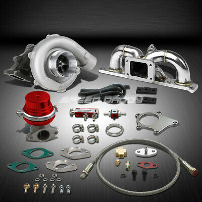 T04 .63Ar 400+Hp Boost 6Pc Turbo Charger+Manifold Kit For 03-08 Gk 2.0L Dohc