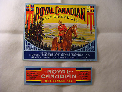 Royal Canadian Ginger Ale bottle and neck label set