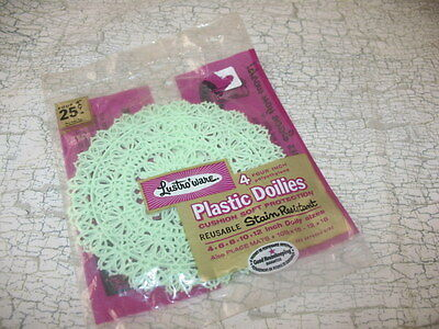 "Vtg Sealed Package of 4 Lustro-Ware 4"" Plastic MINT GREEN Craft Doilies IN PKG"