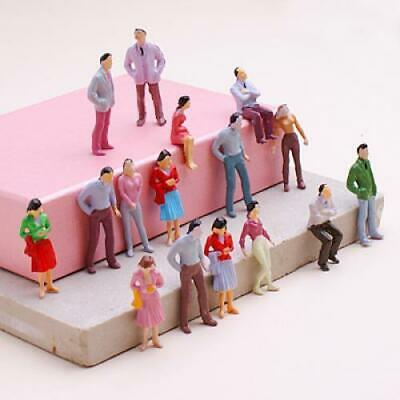100x Painted Figures People Model 1:50 fit O Scale Train Layout Asst Color Pose